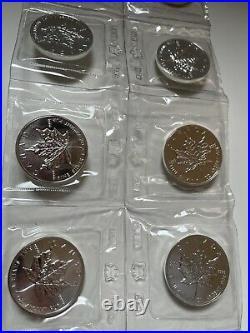 Lot Of (10) 1989 Canada Maple Leaf / Elizabeth II $5 1 Oz Silver Coins RCM BU