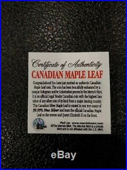 Lot Of Ten 2006 1oz Ounce Canadian Silver Maple Colorized Coin Presentation Box