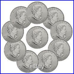 Lot of 10 2019 Canada 1 oz. Silver Maple Leaf $5 Coins GEM BU SKU55537