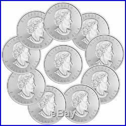 Lot of 10 2019 Canada 1 oz Silver Maple Leaf Incuse $5 GEM BU SKU57180