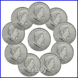 Lot of 10 2021 Canada 1 oz Silver Maple Leaf $5 Coins GEM BU PRESALE