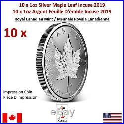 Lot of 10 x 1oz 2019 Canadian Maple Leaf Incuse Silver Coin