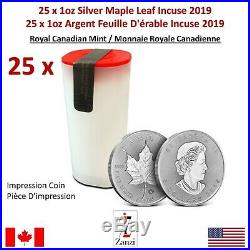 Lot of 25 x 1oz 2019 Canadian Maple Leaf Incuse Silver Coin