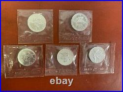 Lot of (5) 1991 Canadian Maple Leaf 1oz. 9999 Silver Coins in sealed Plastic