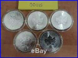 Lot of 5 2015 1 oz Canadian. 9999 Silver Maple Leaf Coins in Air-Tite Capsules