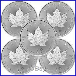 Lot of 5 2018 $5 Silver Canadian Maple Leaf 30th Incuse 1 oz Brilliant Uncircu