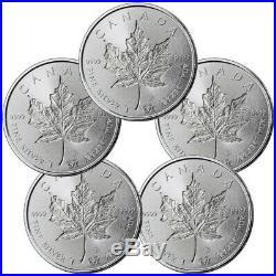 Lot of 5 2019 Canada 1 oz Silver Maple Leaf $5 Coins GEM BU