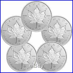 Lot of 5 2019 Canada 1 oz Silver Maple Leaf Incuse $5 GEM BU Coins SKU57179
