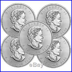 Lot of 5 2020 $5 Silver Canadian Maple Leaf 1 oz Brilliant Uncirculated
