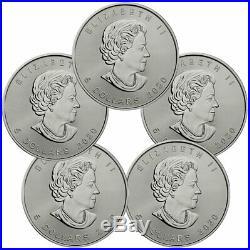 Lot of 5 2020 Canada 1 oz Silver Maple Leaf $5 Coins GEM BU SKU59991