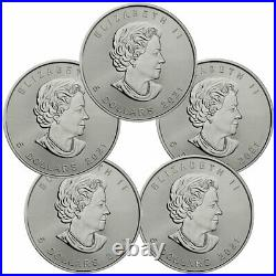 Lot of 5 2021 Canada 1 oz Silver Maple Leaf $5 Coins GEM BU PRESALE
