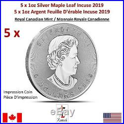 Lot of 5 x 1oz 2019 Canadian Maple Leaf Incuse Silver Coin