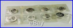 Lot of 8 2008 Canada Olympic $5 Maple Leafs. 9999 Fine Silver 1 oz