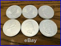 Lot of six Canadian maple leaf 1 oz silver coins (total 6 oz. 9999 pure silver)