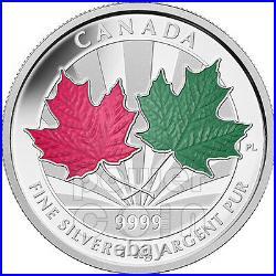MAPLE LEAF FOREVER 1 Kg Kilo Red Green Enamel Fine Silver Coin 250$ Canada 2014