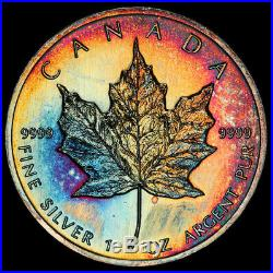 MS66 1992 $5 Canada Silver Maple Leaf, PCGS Secure- Rainbow Toned