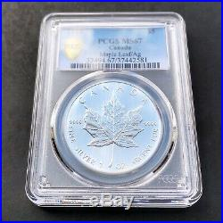MS67 1989 $5 Canadian Silver Maple Leaf PCGS Secure- Rainbow Cross Toned