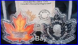 Maple Leaf Shaped Canada Coin $20 2016 1OZ Pure Silver Colour Proof Coin