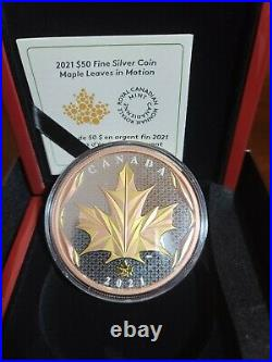 Maple Leaf in Motion 2021 Silver Coin with Yellow and Rose Gold Plating 5 oz
