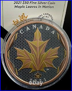 Maple Leaves In Motion 5 Oz 50 Dollars Canada 2021 Silver Coin 24k Gold