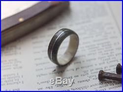 Mens Wedding band made from Antler with Grey birds eye maple and Sterling silver