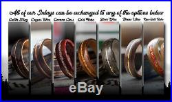 Mens Wedding band made from Birds eye maple, Koa and Sterling silver ring