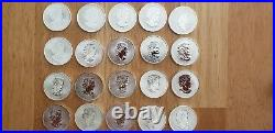 Mixed Roll of 20 Canadian Silver Maple Leaf Coins