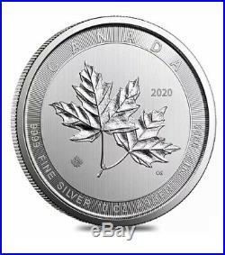 NEW 2020 10 Oz. 9999 Silver $50 Magnificent Maple Leaf Brilliant Uncirculated BU