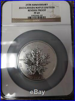 Ngc Silver Pf 69 Reverse Proof 2013 Canada Maple Leaf S$50 25th Anniversary