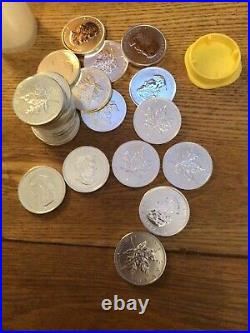 Qty 25 x 1oz Canadian Maple Leaf 9999 Silver Coins 2010 in Mint Tube