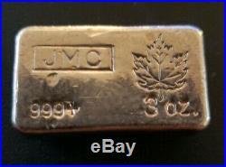 RARE! Johnson Matthey Canada JMC Maple Leaf 4 oz. 999 Silver Poured Bar