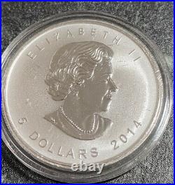Rare 2014 Canada 1 oz Maple Leaf Chinese Horse Double Privy Silver Mintage500