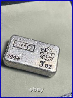 Rare JMC Vintage old pour 3oz Canada Maple Leaf Silver Bar