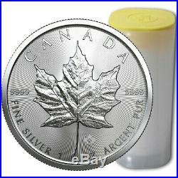 Roll/Tube of 25 2016 Canada 1 Oz $5 Silver Maple Leaf Coin. 9999 Fine Gem BU