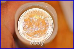 Roll of 25 2013 Canada 1 oz Silver Maple Leaf $5 Coins Buffalo Reverse actual