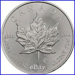 Roll of 25 2019 1 oz Canadian Silver Maple Leaf. 9999 Fine $5 Coin BU Lot