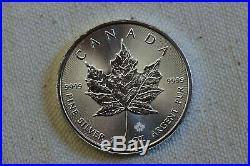 Roll of 25 Silver 1oz Canadian Maple Leaf $5 Canada Coins in a Mint Tube 2016