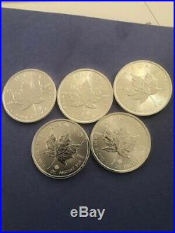 Silver Canada Maple Leaf lot of 5- 2016 1 Oz. 9999 $130.00 Free Shipping