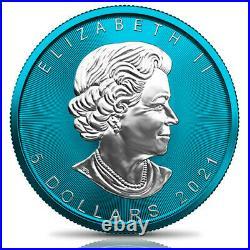 Space Blue Maple Leaf 1 Oz 5 Dollars Canada 2021 Silver Coin