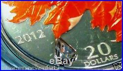 Swarovski Crystal Raindrop CANADA 2012 Color $20 Coin. Silver Sugar Maple Leaf