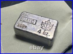 Very Rare 4 oz JMC JOHNSON MATTHEY CANADA 999 Poured Silver Maple Leaf Bar